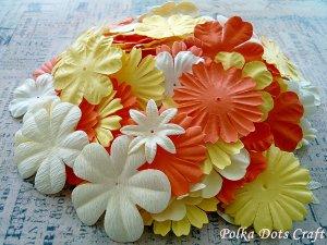 150 pcs of Paper Flowers Petals, Embellishments, Scrapbooks, Yellow Orange Cream Colors, F6