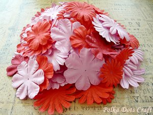 100 pcs of Paper Flowers Petals, Embellishments, Scrapbooks, Pink & Red Color, F11