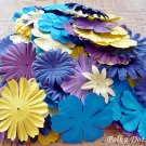 100 pcs of Paper Flowers Petals, Embellishments, Scrapbooks, Purple Yellow Blue Color, F12