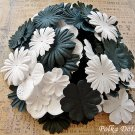 150 pcs of Paper Flowers Petals, Embellishments, Scrapbooks Crafts, Black & White Color, F13
