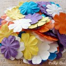 100 pcs of Paper Flowers Petals, Embellishments, Scrapbooks, Yellow Purple Orange Color, F14