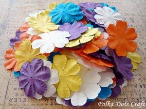 100 pcs of Paper Flowers Petals, Embellishments, Scrapbooks, Yellow Purple Orange Color, F14