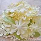 150 pcs of Paper Flowers Petals & Leaves, Embellishments, Scrapbooks Crafts, Cream Green Color, F15