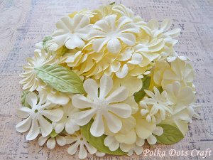 150 pcs of Paper Flowers Petals & Leaves, Embellishments, Scrapbooks Crafts, Cream Green Color, F15