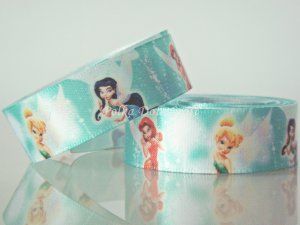 "1 Yard of 5/8"" Disney Tinker Bell & Fairy Friends Satin Ribbon, Headbands, Scrapbooks, R256"