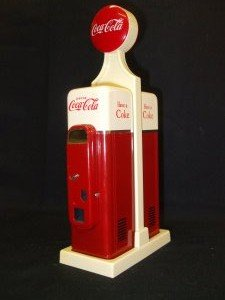 Coka Cola Salt and Pepper pots with stand