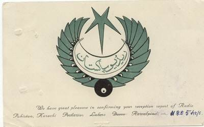 QSL 1950s Radio PAKISTAN - signed with stamps