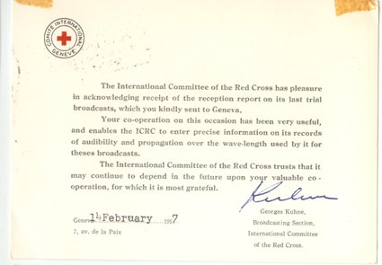 QSL 1957International Committe of the Red Cross -signed - Sweden Shop - 868