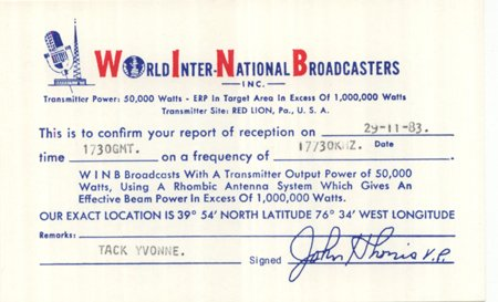 QSL 1983 World International Broadcasters WINB -signed - Sweden Shop