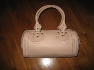 Beige pink formal handbag