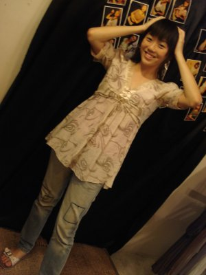 ** Kimono Swirl Top With Tie Back **
