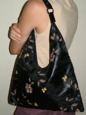 Black sequin flower bag