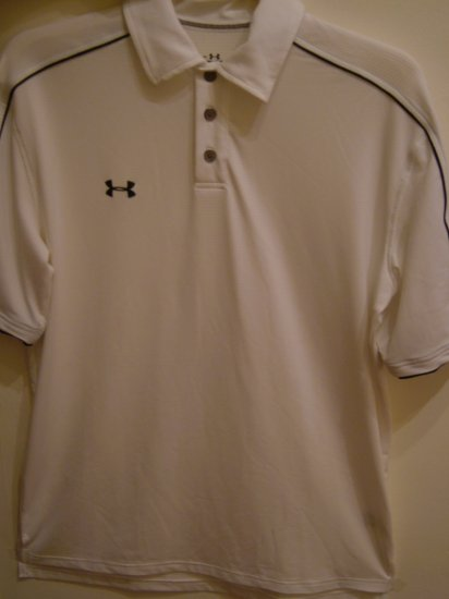 UNDER ARMOUR White Polo (Heat Gear) (SIZE SM, Mens)