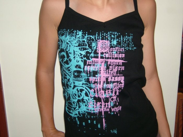 Black  Spag. Tank top with unique backside (SIZE M / Euro 40 / 12, Girls, Teens)