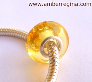 Baltic amber champagne European Charm Silver bead