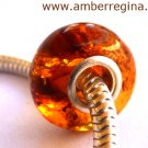 Baltic Amber Whisky Cognac European Charm Silver Bead