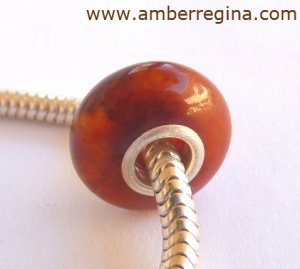Baltic Amber Antique Dark Caramel European Charm Silver Bead