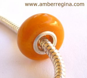 Baltic Amber Antique Butterscotch Light Caramel European Charm Silver bead