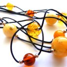 Baltic Amber Ball Beads Butterscotch Cognac Yellow Choker on Leather 18 inch