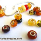Baltic Amber European Charm Bead Faceted Honey Cognac Cherry 925 Silver Core