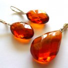 Baltic Amber Faceted Cognac Jewelry Set 925 silver