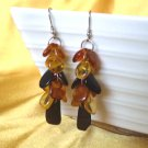 Baltic Amber Multicolor Cluster Earrings 925 silver