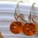Baltic Amber Ball Earrings Cognac 925 Silver