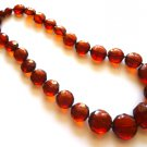 Unique Baltic Amber Faceted Cognac Necklace 18""