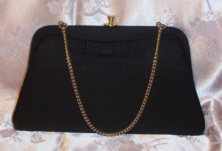 Black Vintage Elegant PURSE With Bow Signed ADMIRAL