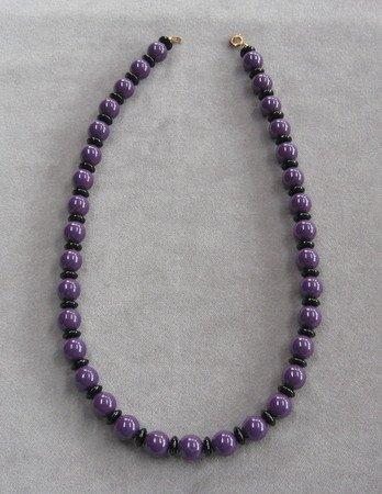 Purple & Black Bead Necklace Vintage