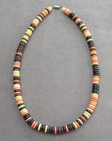 Beaded Necklace Multi Color Brown Black Ivory Vintage 70's