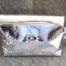 Silver Metallic Clutch Purse With Silver Compact & Make Up Brushes Leopard Lining By Urban Attitudes