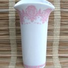 Fancy Pink & White Ceramic Vase Vintage 80's FTD