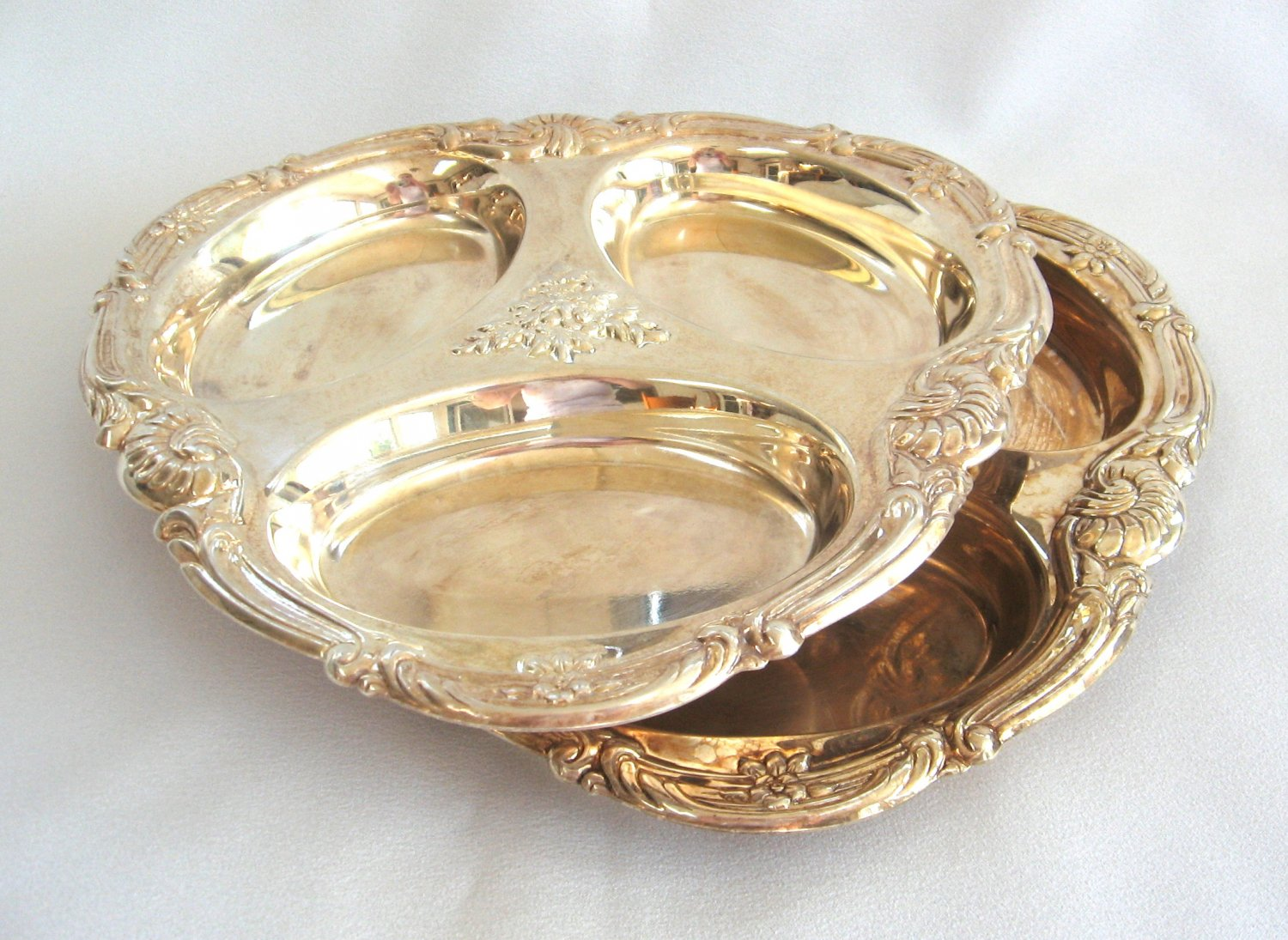 Serving Trays Set Silver Plated Fancy Ornate Design Vintage