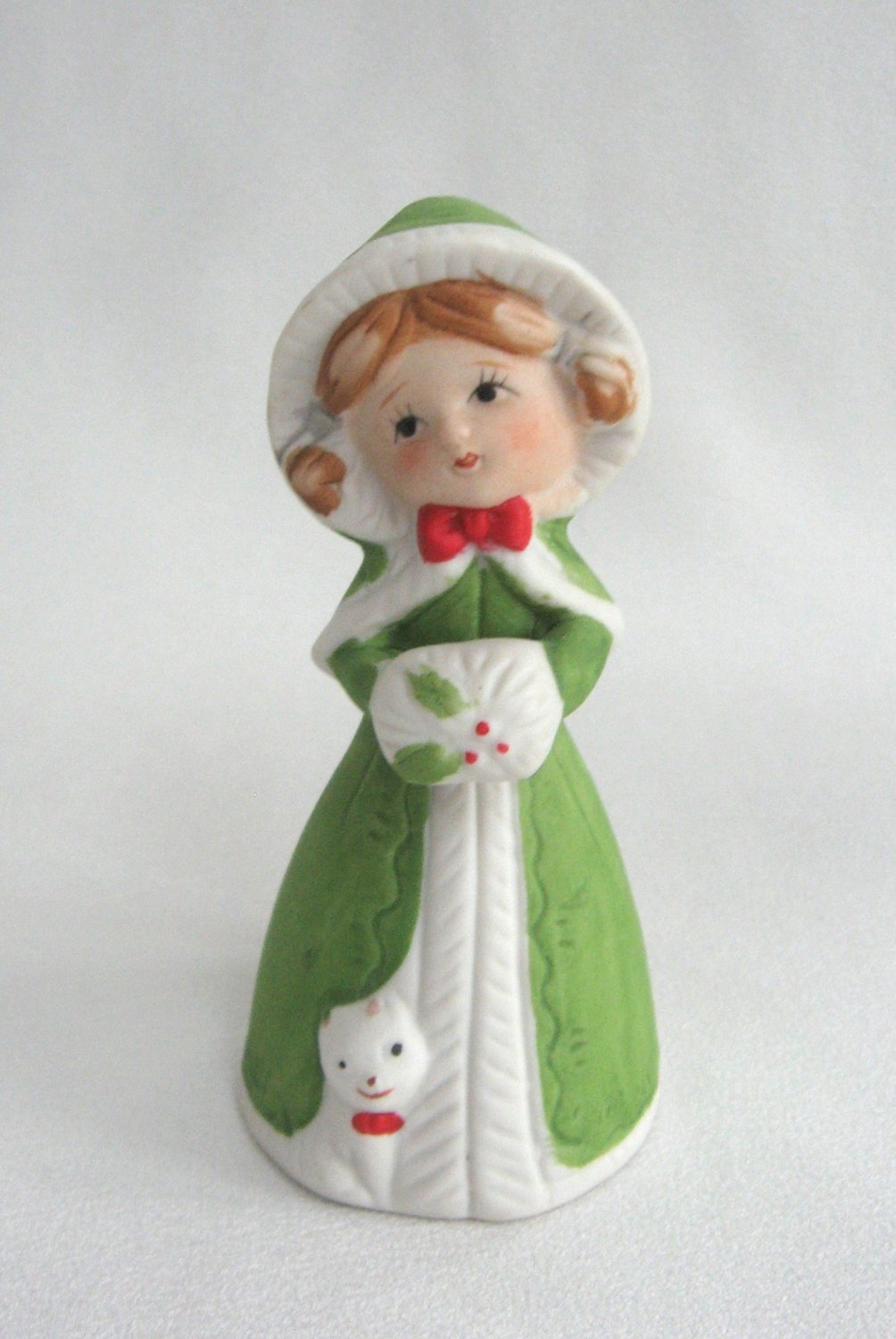 Young Girl With Kitty Cat  Bell Vintage Holiday Winter Porcelain Jasco Handcrafted 1970's