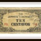 The Japanese Government Ten Centavos PR Old Invasion Money Vintage Banknote