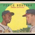 Baseball Trading Card 1959 Fence Busters Hank Aaron Eddie Mathews No. 212 Topps