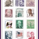 USA United States Postage Stamps Vintage Dozen