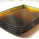 Set Of 4 Vintage Amber Snack Trays Serving Retro