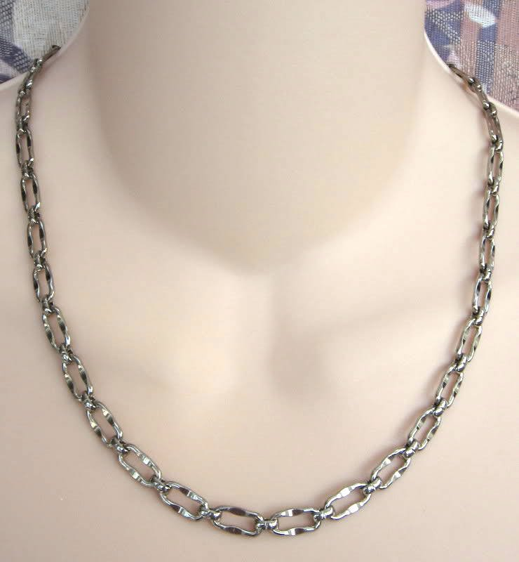 Silver Necklace Fancy Chain Link Vintage 60's