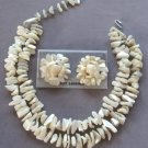 Mother Of Pearl Double Strand Necklace Bracelet & Earrings Japan Vintage Jewelry Set