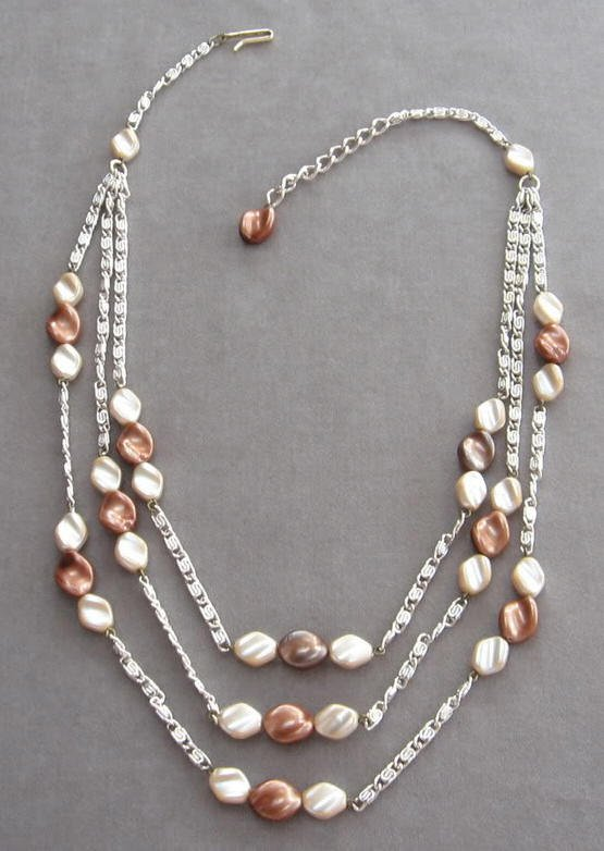 Bead Necklace Triple Strand Brown Beige Vintage Retro Western Germany