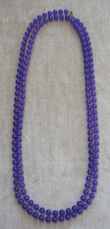Purple Long Strand Beaded Necklace Vintage