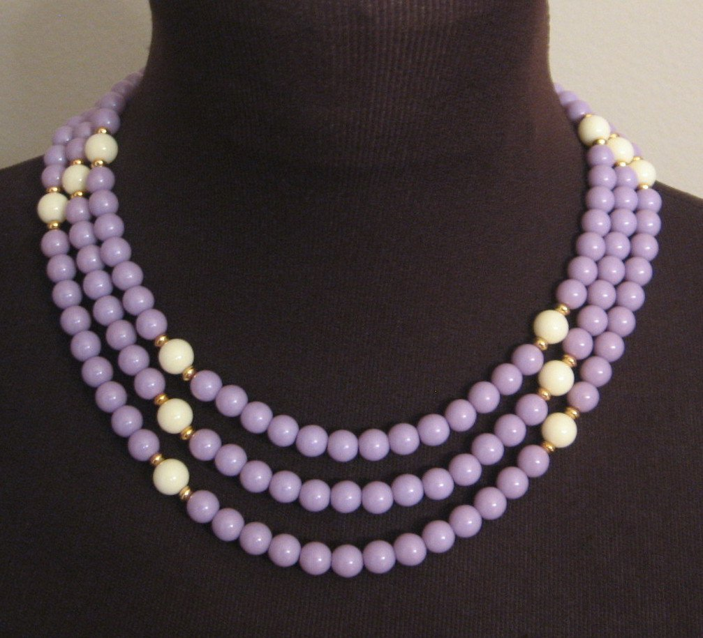 Purple Lavender Triple Strand Designer Necklace By Monet Vintage 80's