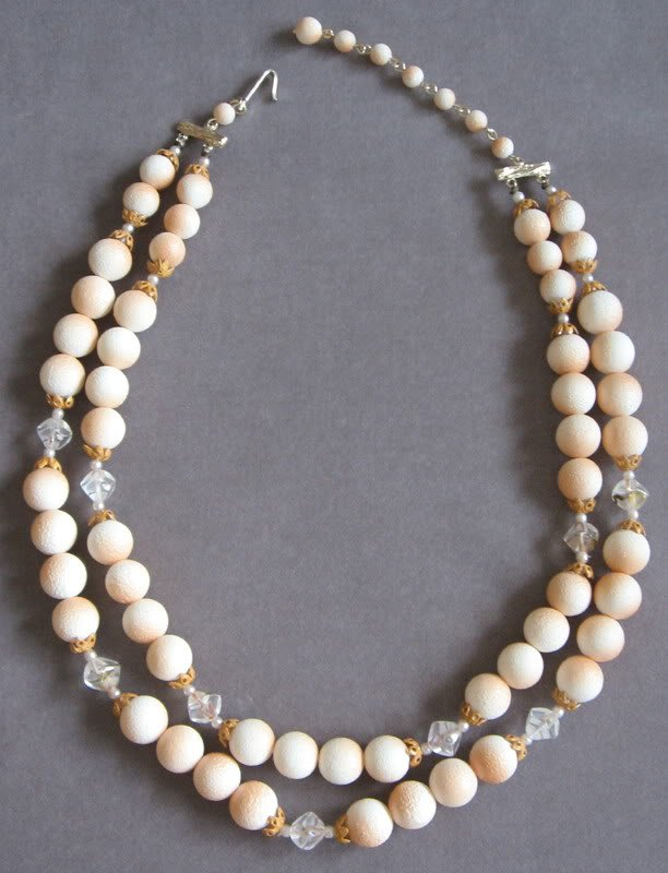 Double Strand Orange Peach Beige Glass Beaded Necklace Japan Vintage 1950's
