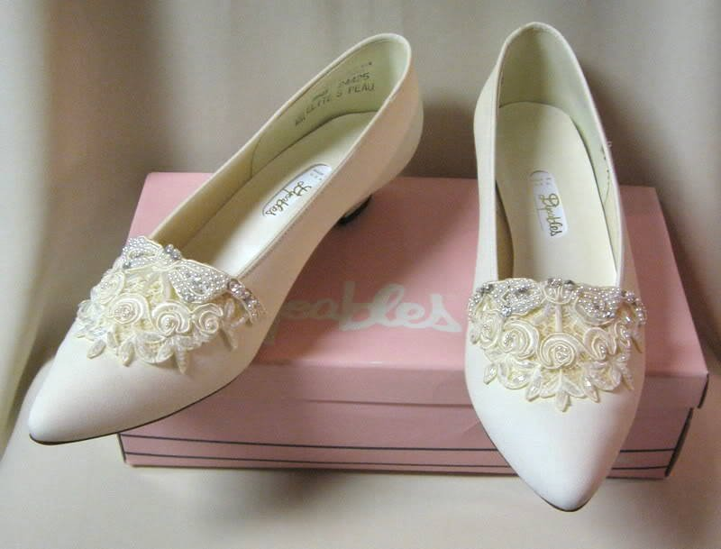 Ivory Cream Color Dyeables Fancy Beaded Sequins Shoes Size 9 1/2 B