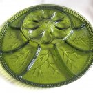 Indiana Glass Relish Deviled Egg Tray Cheese Crackers Quality Pebble Leaf Vintage