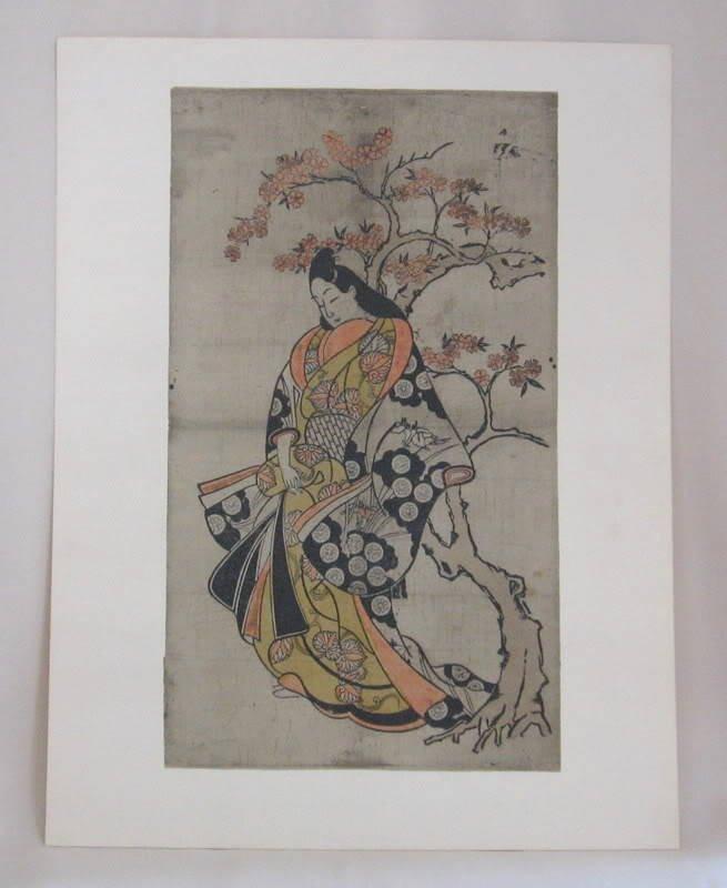 Rare Vintage Japanese Print Hishikawa Moronobu Woman Standing Beside A Cherry Tree