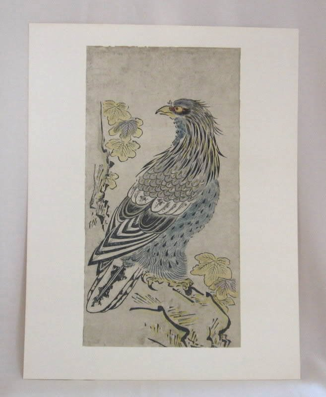 Rare Vintage Japanese Woodblock Art Print Torii Kiyomasu An Eagle On A Cliff