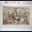 Vintage Japanese Woodblock Print TORII KIYOMITSU Harugoma Dance Rare Art